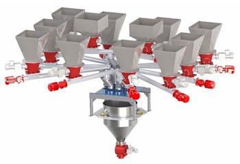 Устройство смешивания и дозирования сыпучих компонентов покрытия электрода.