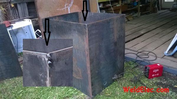 металлический бак, собранный на прихватки перед сваркой